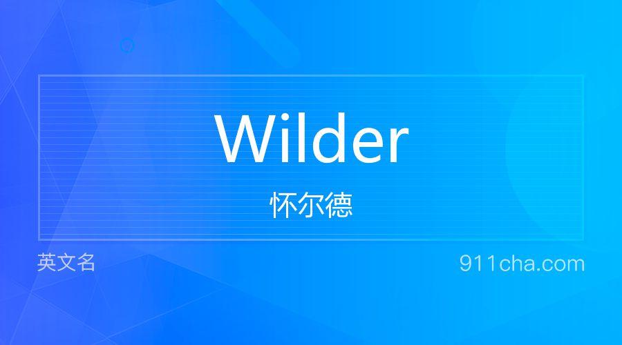 Wilder 怀尔德